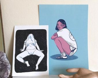 Art prints Bundle // A4 Nothing makes sense + A5 Quarantine Mood //