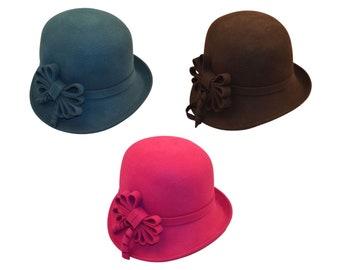 Wool Felt Cloche Bowler Superior Comfort Timeless Style Hat Men Women Adjustable Hand Made Fashionable