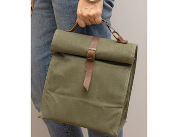 Lunch Bag, Insulated Lunch Bag, Wax Canvas Lunch Box, Large Capacity, Genuinue Leather