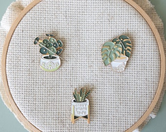Plant Enamel Needle Minder, Fun Fridge Magnet, Magnetic Lapel Pin, Enamel Needle Nanny, Cactus, Succulent, House Plant