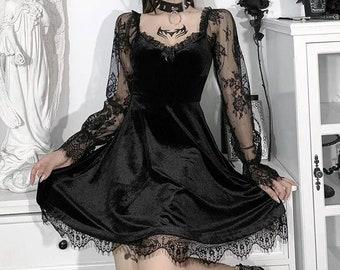 Gothic Velour Aesthetic Vintage Dresses, Women's Lace Long Sleeve A-line Dress, Patchwork Grunge Black Partywear, S-L
