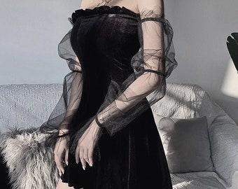 Black Mesh Vintage Gothic Dress, Egirl, Aesthetic, Transpanent, Strap Pleated Dress, Chic, Punk, Hip Hop, Grunge, Emo, Y2K, Dark, Gothic
