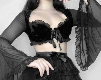 Gothic Sexy Velvet Ruffle T-Shirt, Y2K Aesthetic Black Chiffon Flare Sleeve Lace Up Tops, Harajuku Casual Crop Tops, S-L