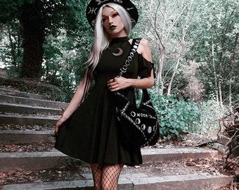 Gothic Moon Pattern Dress, Open Shoulder Women Mini Dress, women high waist gothic dress, S-L