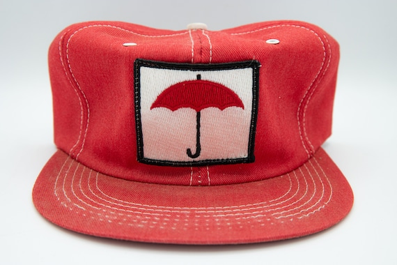 Vintage 70s Red Umbrella Farmer Trucker Hat Never