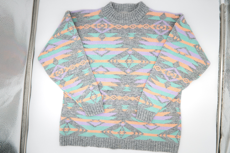 80s Sweatshirts, Sweaters, Vests | Women Vintage 1980S Diversity Sport Sweater Sz. Medium Santa Fe Southwestern Geometric Design Machine Washable Free Shipping $30.40 AT vintagedancer.com
