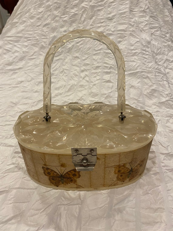 Lucite pearl butterfly hand bag