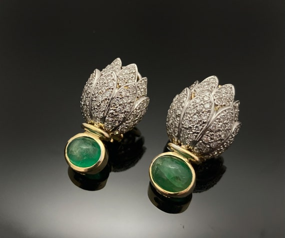 Vintage Emerald Earrings,Natural Emerald and Natur