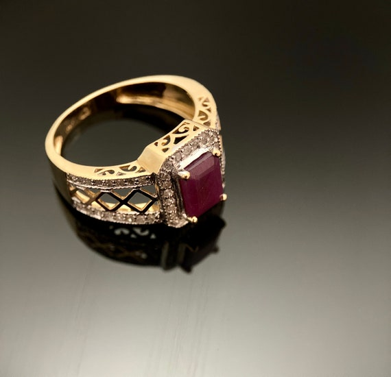 Ruby & Diamond Gold Ring, 14K Yellow cocktail  rin
