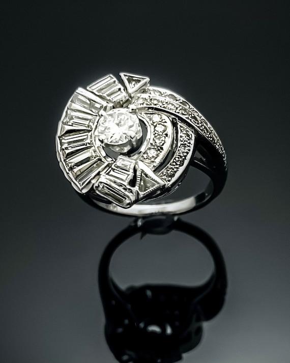 Diamond Ring,14K White Gold Diamond Ring,Vintage R