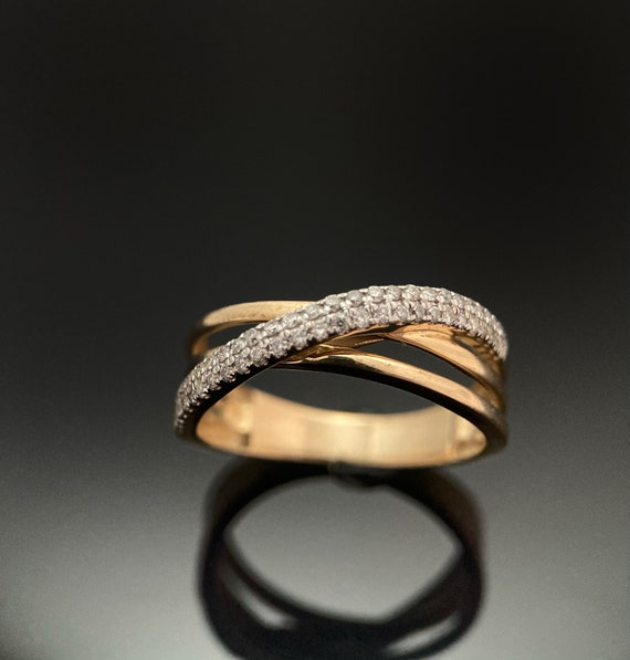 Diamond Gold Ring,14K Yellow Gold Ring,Cocktail Ri