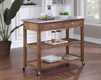 Solid Wood Rustic Kitchen Island Cart With Stainless Steel Top