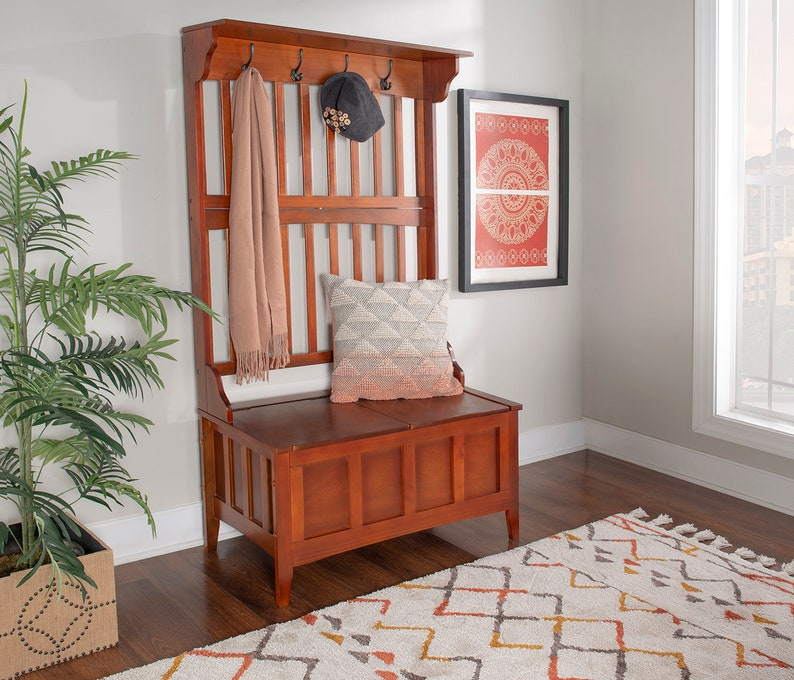 Modern Wood Hall Tree With Storage Bench With 18 In. Bench ...