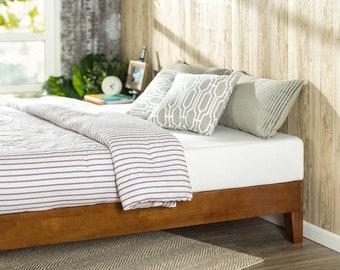 Elegant Solid Acacia Wood Platform Bed Frame (Cherry Finish)