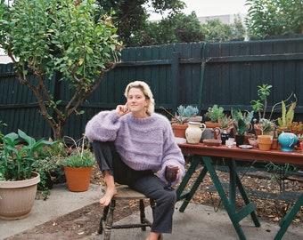 Purple handknit mohair sweater