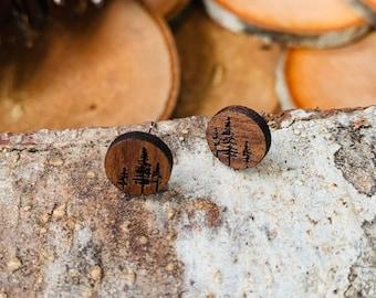 Wooden Stud Earrings, Laser Cut, Jewelry, Gift for Her, Walnut Wood,