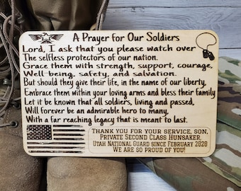A Prayer for Our Soldiers Personalized Prayer Board