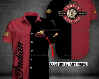 Indian Motorcycle Button Shirt Personalized   Racing Go Indian Motorcycle   Motorbike Racer LTV082005D09