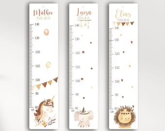 Measuring bar personalized in aluminum/wood for children, personalized with name and motif, measuring bar, baptismal gift, children's room, birthday