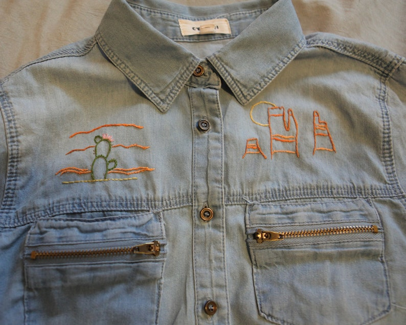 Hand-embroidered Desert One-of-a-Kind Button Down Shirt Sale