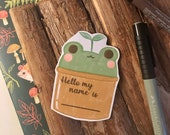 Froggy Plant / Back To School Stationery / Cute Hello My Name Is Vinyl Matte Sticker Label