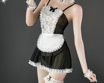 FRENCH MAID wedding garter a PETERENE original.Embroidered Lace
