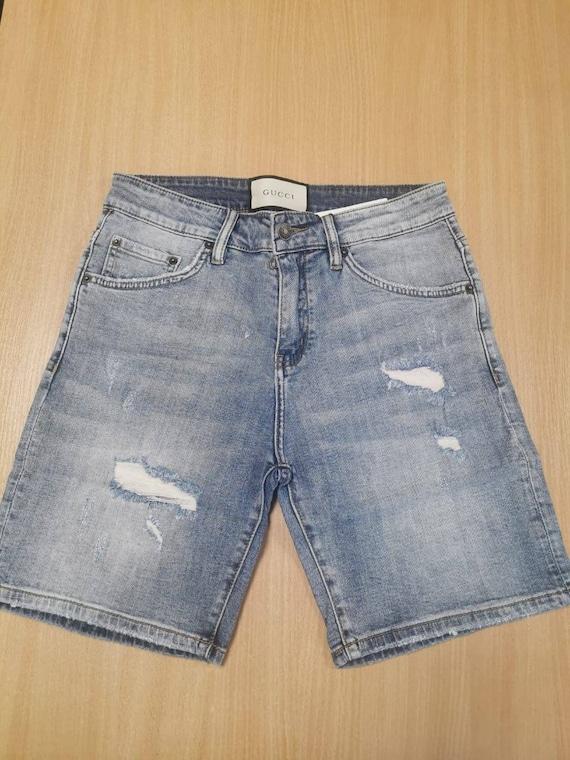 Vintage Mens Denim Shorts, Funny Custom  Denim Sho