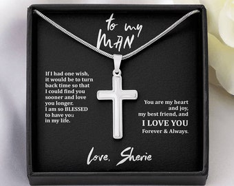 silver Men/'s Cross Necklace wife valentine/'s day gift I Love You Anniversary gift Custom gift boyfriend gift Personalized mens gift