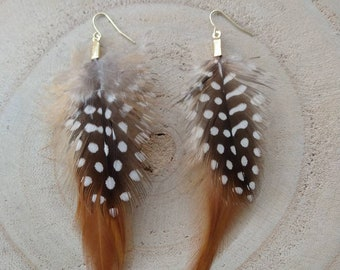 Collar length spotted and whispy gold feather earrings/hippie/boho/country/style/fashion/gifts for her/jewelry/handmade