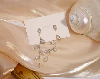 Real Gold Plated 14k LeavesEarring Delicate Cubic Zircon Earrings Wedding Jewelry Pendant bride/bridesmaids Earrings gift Ring bracelet gift