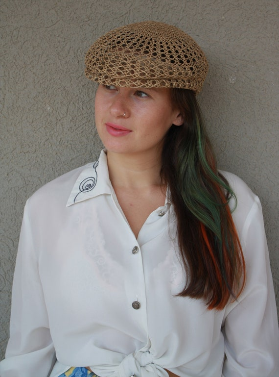vintage straw hat, women hat, summer unisex straw