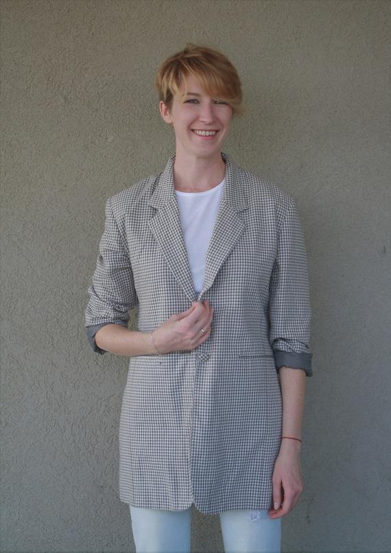 Vintage blazer , houndstooth pattern blazer, Grey