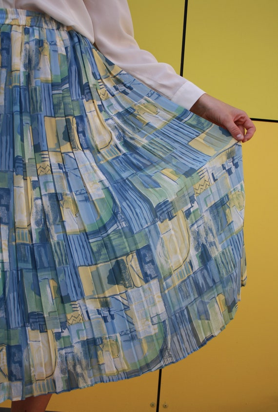 vintage abstract skirt, georgette imprime skirt, … - image 5
