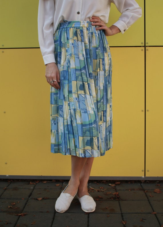 vintage abstract skirt, georgette imprime skirt, … - image 2