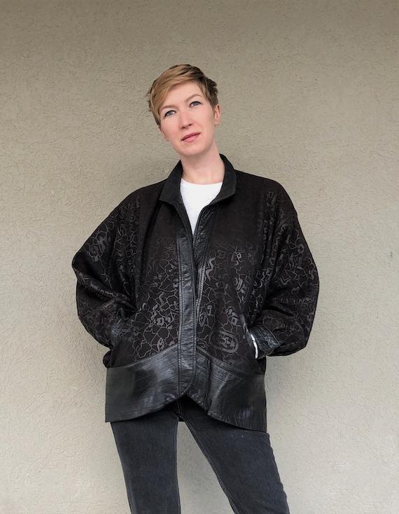 80s pattern leather jacket , leather women bomber