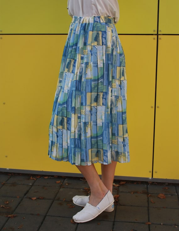 vintage abstract skirt, georgette imprime skirt, … - image 3
