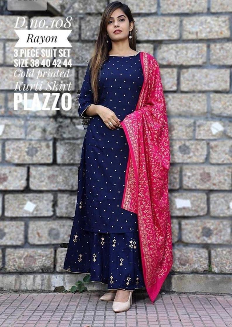 Designer Printed Rayon Kurti Pant Set With Printed Dupatta Set For Women And Girls||Kurti Dupatta Set||Designer Kurti Set||Free Shipping