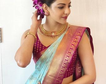 Beautiful hot Green Bollywood sari Soft silk saree for women with jacquard pattern work sari weeding party wear daily wear blouse sari