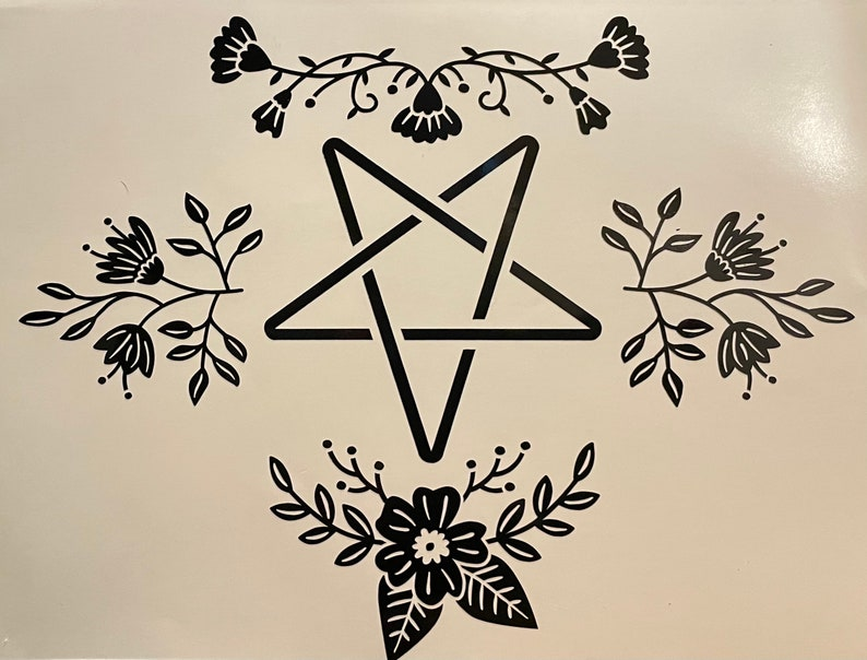 Floral Pentagram Vinyl Decal