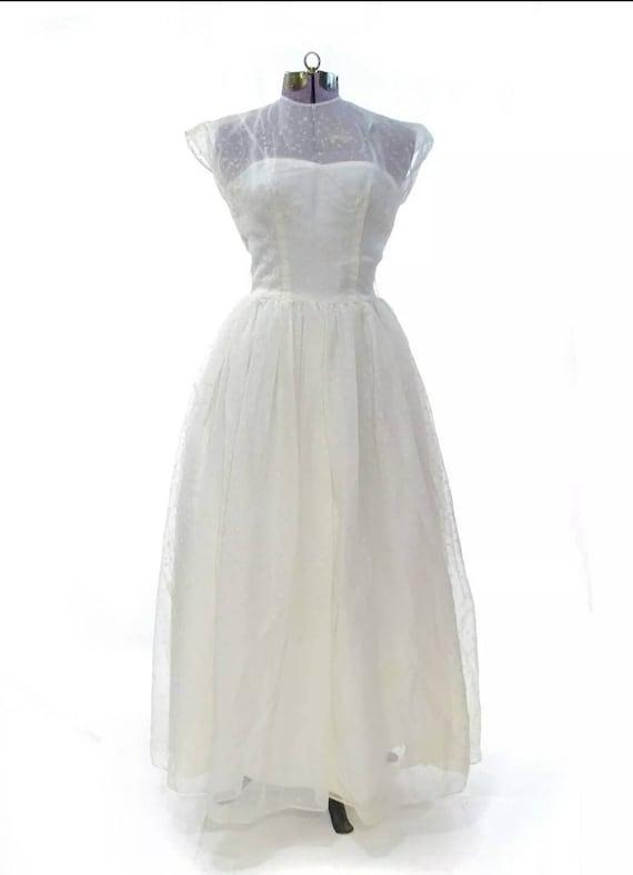 1950's White Weeding or Prom Dress M