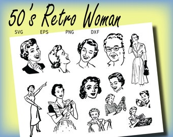 50's Retro Woman, svg, eps, png, dxf