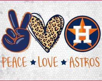 Peace Love Astros Baseball Sublimation Tshirt
