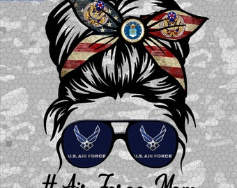 Air Force Mom Png, Mom Life Png, Messy Bun Png, Military Mom, Mothers Day, Digital Download