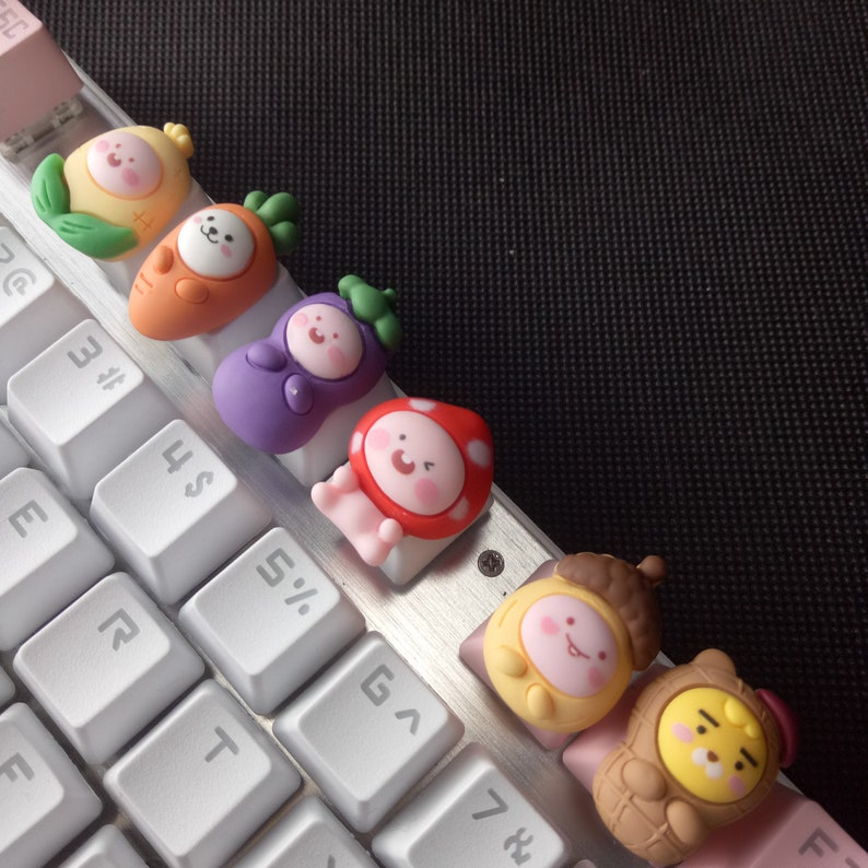 axis mechanical keyboard keycaps + Pink handmade vegetable keycaps are suitable for most cherry MX