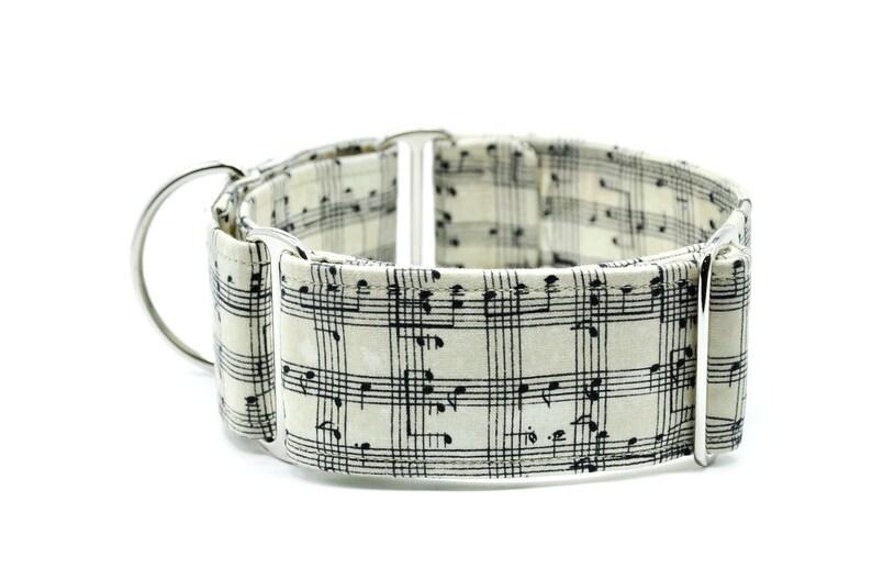 Music for Life Music notes Martingale Dog Collar Greyhound Whippet Sighthound Dog Collar