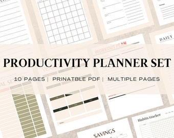 10 Pages Productivity Planner | 24 Hour Daily Planner Printable | Daily To Do List for Work / Personal Life | Multiple Pages Planner