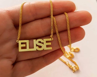 Name Necklace, Curb Chain Name Necklace, Personalized Jewelry, Cuban Chain, Gold Name Necklace, Nameplate Neckace, Name Choker, Gift for Her