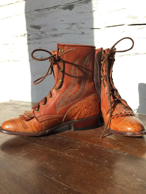 Vintage Lace Up Boots 7M