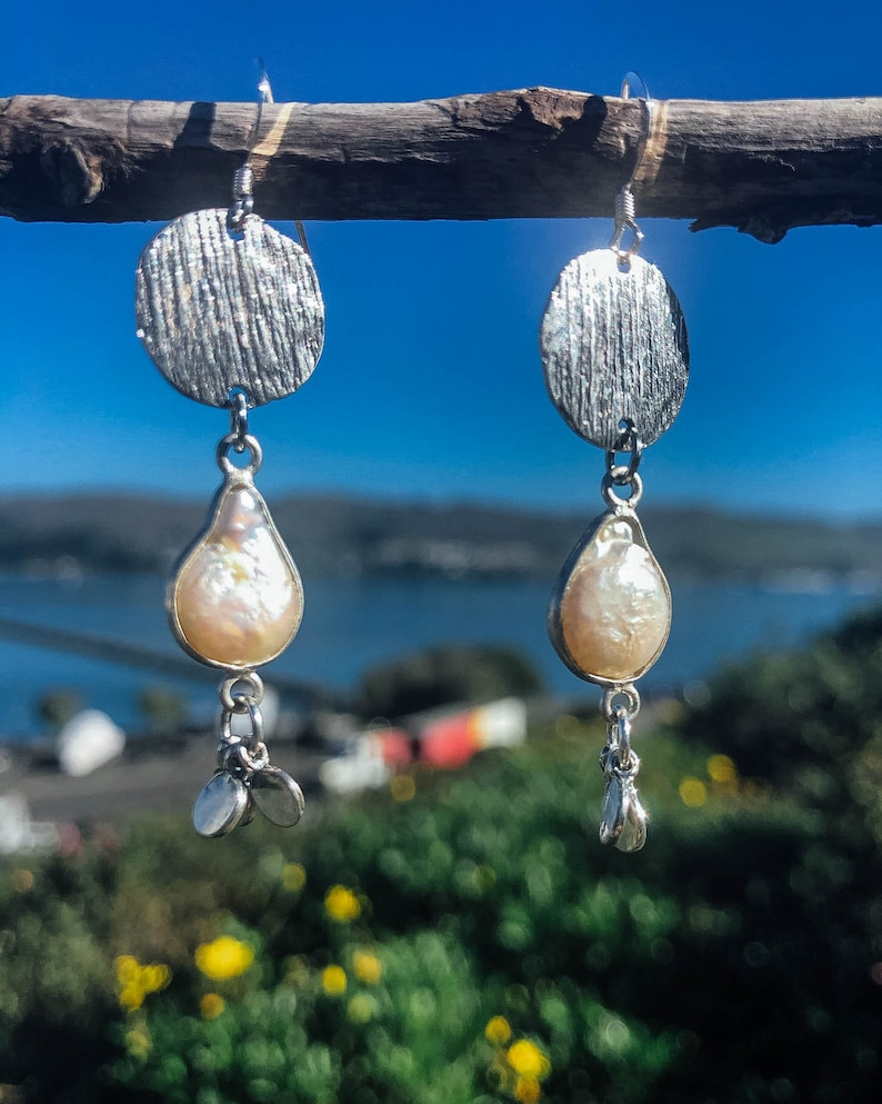 Handmade Jewelry Pearl Drops Irregular Pearls outlined in Sterling Silver Boho Chic Earrings