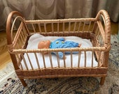 Wicker Doll Crib, Rattan Dolls Bed, Doll Bed, Bed for Dolls, Wicker Doll Cradle, Boho Nursery Decor, Barbie Doll Bed, Willow Doll Basket